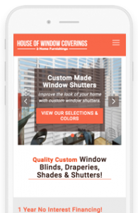 House of Window Coverings Website Redesign Mobile View