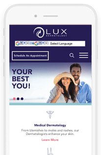 LUX Dermatologies Wordpress Website design mobile-view