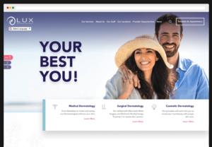 LUX Dermatologies WordPress Website design webpage-view