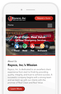 Raysco, Inc Website Redesign Project mobile-view