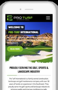 Pro Turf International Custom WordPress Website mobile-view