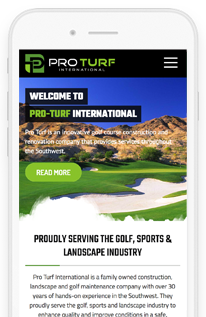 Pro Turf International Custom Wordpress Website mobile-view