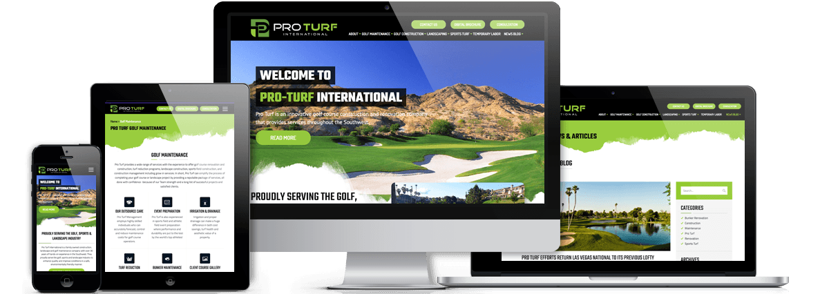 Pro Turf International Custom Wordpress Website on-devices