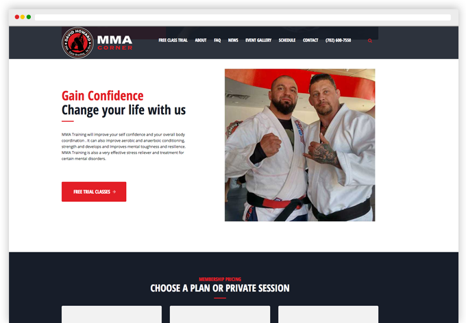 David Howard's MMA Corner Wordpress Website Desktop View