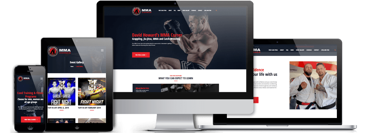 David Howard's MMA Corner Wordpress Website Responsive Views