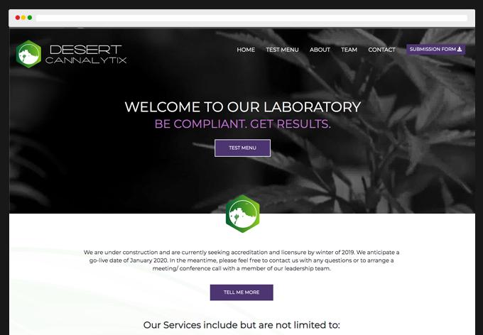 Desert Cannalytix website project webpage view