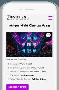 Entourage Entertainment Responsive Mobile Views