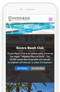 Entourage Entertainment Responsive Mobile Views