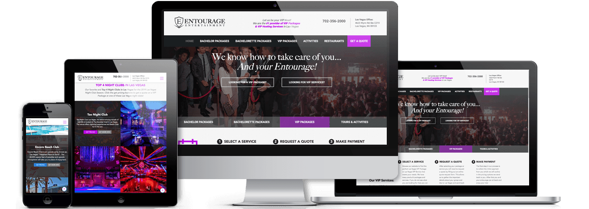 Entourage Entertainment Responsive Website Views