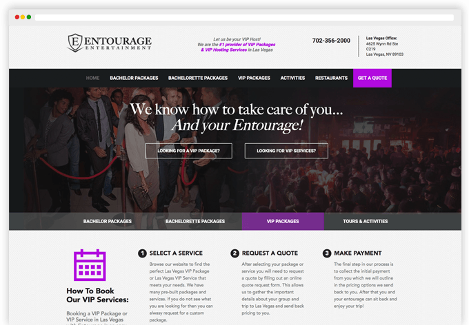 Entourage Entertainment Responsive Web Page Views